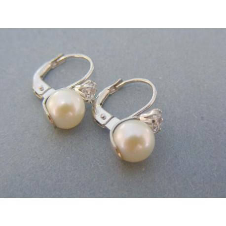 2336d0215 Elegantné dámske náušnice biele zlato perla zirkón