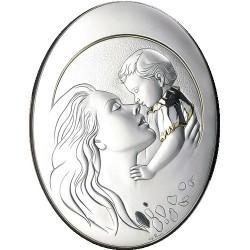 Strieobrný obraz matka s dieťaťom pozláteny D05.5999.50OL