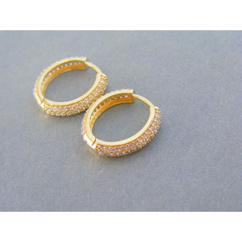 cc8542610 Zlaté dámske náušnice kruhy posiate kamienkami žlté zlato VA333Z. Loading  zoom
