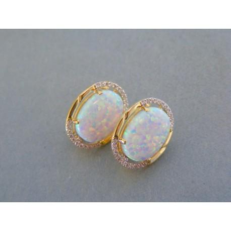 93c3a70a7 Zlaté dámske náušnice žlté zlato kameň opál VA514Z 14 karátov 585/1000 5.14g