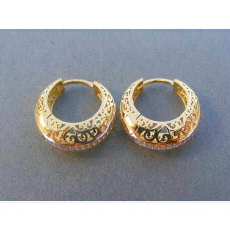 f3110d0fb Zlaté dámske náušnice kruhy žlté zlato jemne kamienky DA446Z 14 karátov  585/1000 4.46g