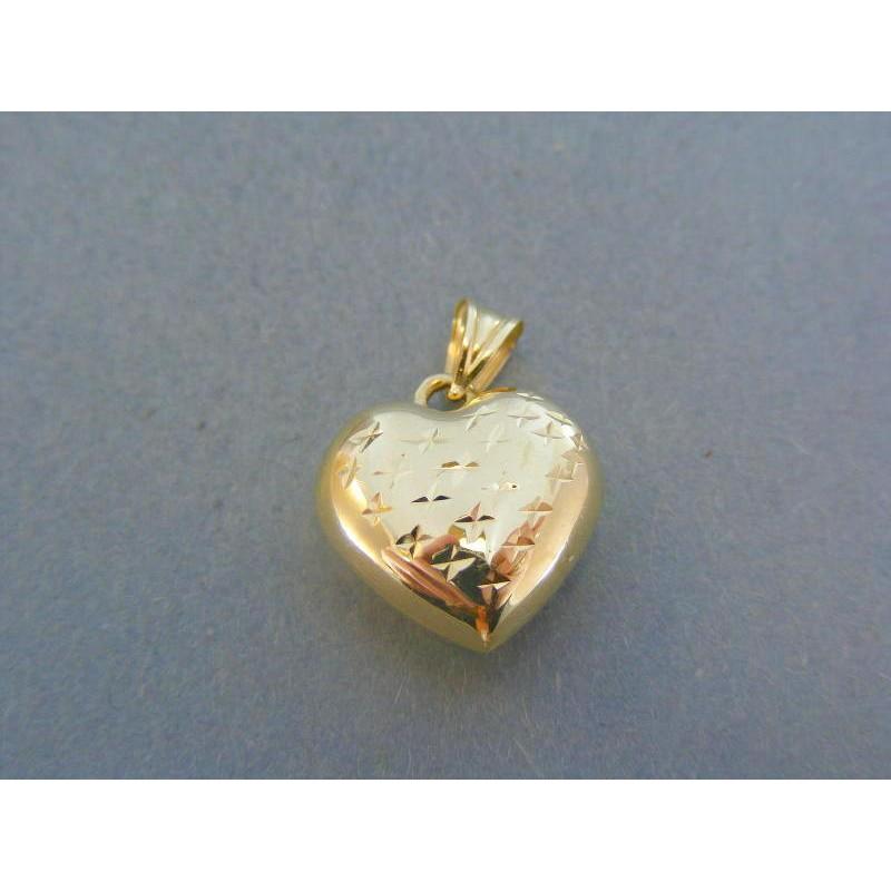 708f253a4 Zlatý prívesok srdiečko žlté zlato vzorované DI113Z 14 karátov 585/1000  1.13g. Loading zoom