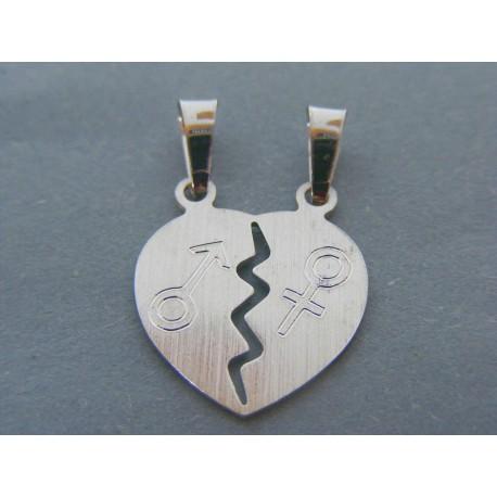 Strieborný prívesok srdce pre ňu a pre neho DIS225 925/1000 2.25g