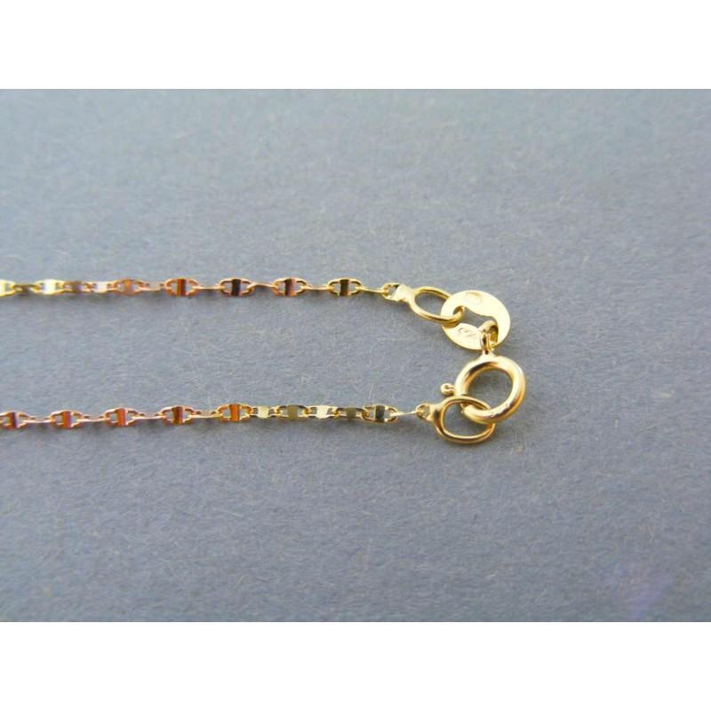 e9a569a9a Zlatá dámska retiazka vzorovaná trojfarebné zlato DR45143V 14 karátov  585/1000 1,43g. Loading zoom