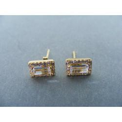Zlaté dámske naušnice napichovačky žlte zlato zirkóny DA194Z 14 karátov 585/1000 1,94g