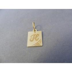Zlatý prívesok pismeno H žlté zlato DI050Z 14 karátov 0,50 g