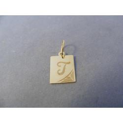 Zlatý prívesok pismeno T žlté zlato DI050Z 14 karátov 0,50 g