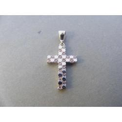 Zlatý prívesok tvar Kríž biele zlato zirkóny DI116B 14 karátov 585/1000 1,68 g