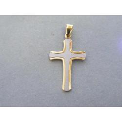 Zlatý prívesok tvr krížik viacfarebné zlato VI116V 14 karátov 585/1000 1,16 g