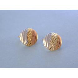 Zlaté dámske naušnice viacfarebné zlato vzorované DA188V 14 karátov 585/1000 1,88 g