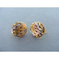 Dámske zlaté naušnice viacfarebné zlato vzorované DA186V 585/1000 14 karátov 1,86 g