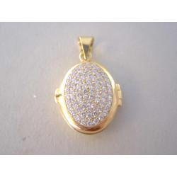 Zlatý prívesok roztvarací ovál zirkóny VI667Z 14 karátov 585/1000 6,67 g