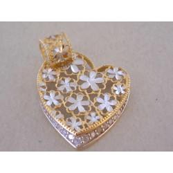 Nádherný dámsky prívesok kvetinové Srdiečko DI148V viacfarebné zlato 14 karátov 585/1000 1,48 g