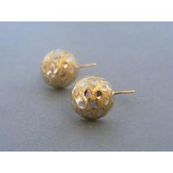 Zlaté dámske naušnice zaujímavý vzorovaný vzhľad viacfarebné zlato DA308V 14 karátov 585/1000 3,08 g