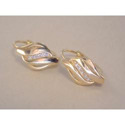 Zlaté dámske naušnice žlté zlato kamienky zirkónu VA194Z 585/1000 14 karátov 1,94 g