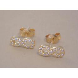 Zlaté dámske napichovacie naušnice Nekonečno žlté zlato,zirkóny VA099Z 14 karátov 585/1000 0,99 g