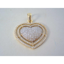 Zlatý dámsky prívesok Srdiečko so zirkónmi DI470Z 14 karátov 585/1000 4,70 g